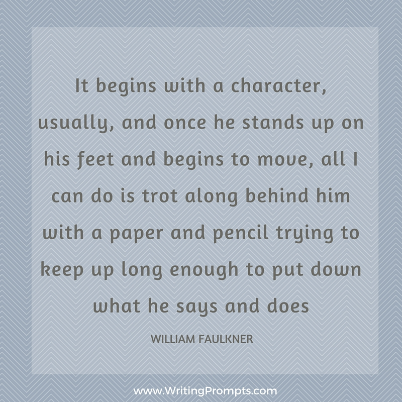 It begins with a character
